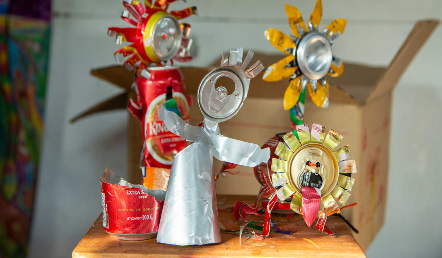 Attractive showpieces from discarded Cans made in the workshop organised by French artist Veronique Fillet, in the Art Room at Cabral Yard, Fort Kochi