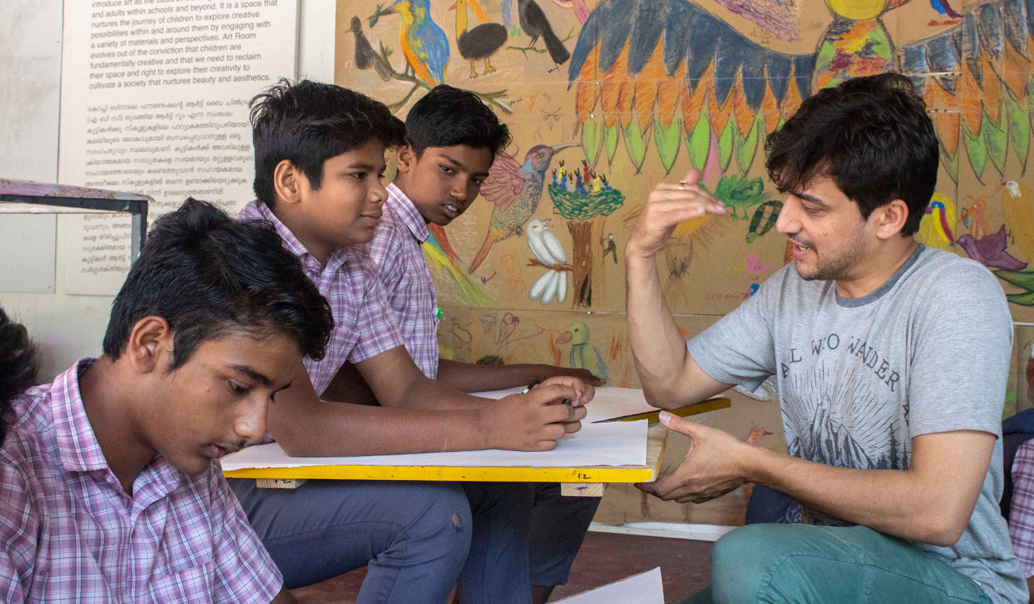 Graphic Novelist Tejas Modak working with the kids at the workshop