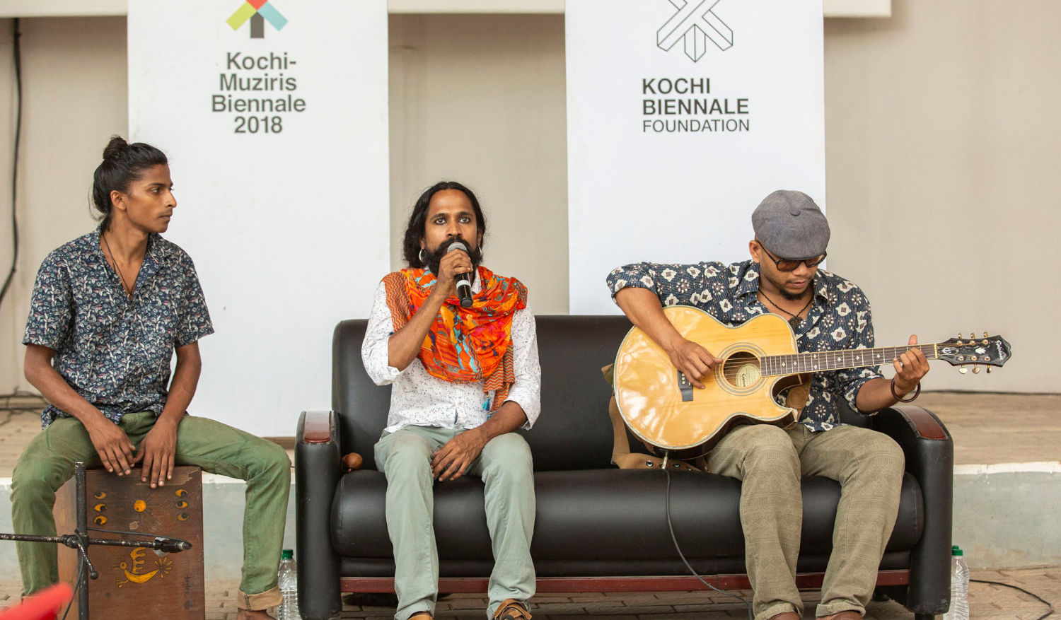 Artists of the Oorali music band at a press conference organised by the KBF